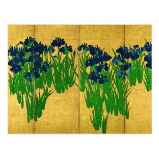 Irises på guld vykort