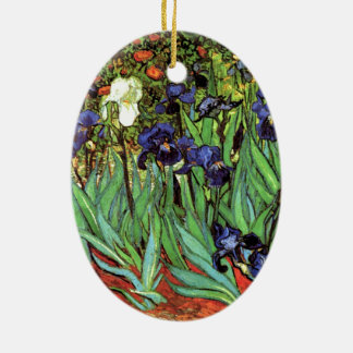Irises vid Van Gogh konst Ovalformad Julgransprydnad I Keramik