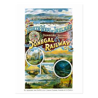 Irland Donegal järnväg återställd vintage affisch Vykort