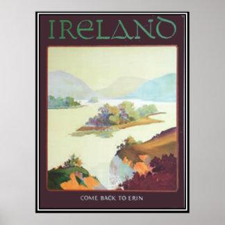 Irland kombaksida till det Erin trycket Poster