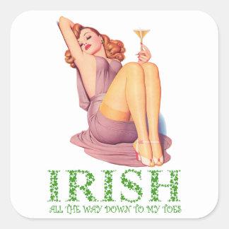 Irländare besegrar hela vägen till min Toes Fyrkantigt Klistermärke