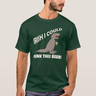 Irländare kunde jag dricka denna öl, roliga T-Rex Tee Shirt