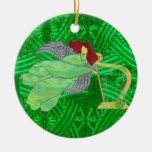Irländsk ängel och harpa i målat glass jul dekorationer
