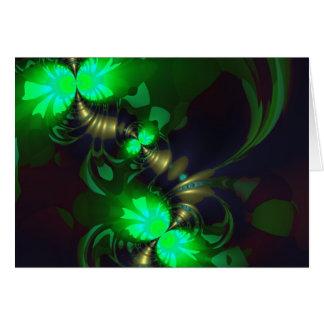 Irländsk elakt troll - smaragd- och guldrosett hälsningskort