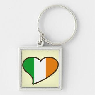 Irländsk flagga för st patricks day fyrkantig silverfärgad nyckelring