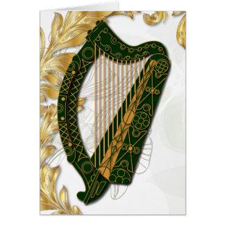 Irländsk harpa med vallmor och bladguld - 3 hälsningskort