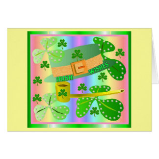 Irländsk hatt och Shamrocks Hälsningskort