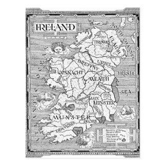 Irländsk karta för vintage vykort