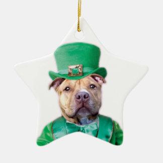 Irländsk Pitbull hund Julgransprydnad Keramik