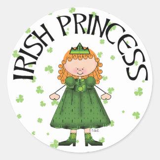 Irländsk Princess Rödhårig Runt Klistermärke