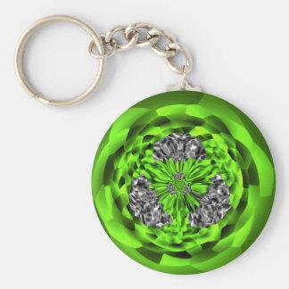 Irländsk smaragd- och silverkonst knäppas Keychain Rund Nyckelring