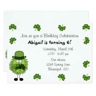 Irländsk st patrick's dayfödelsedag för gulligt 12,7 x 17,8 cm inbjudningskort