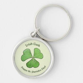 Irländsk tur St Patrick för Shamrock Rund Silverfärgad Nyckelring