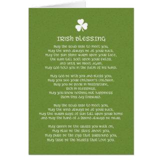 Irländsk välsignelse och Shamrock Hälsningskort