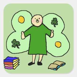 Irländska Confuzzled Fae kvadrerar klistermärkear Fyrkantigt Klistermärke