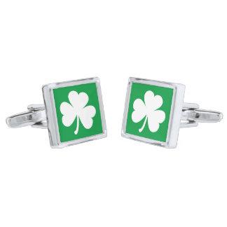 Irländska ShamrockCufflinks Silverpläterade Manschetterknappar