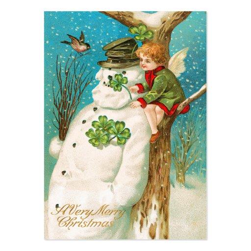 Irländska snögubbenamn bricka för vintage visitkort mallar