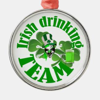 Irländskt dricka lag rund silverfärgad julgransprydnad