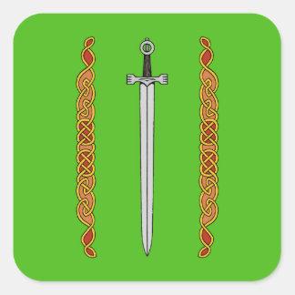 Irländskt svärd och Knotwork Fyrkantigt Klistermärke