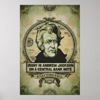 Ironi är Jackson på ett centralsedeltryck Poster