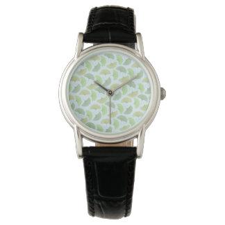 Irrande grön Ginkgoklocka Armbandsur
