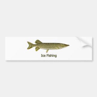 Is som fiskar den nordliga Pike logotypen Bildekal