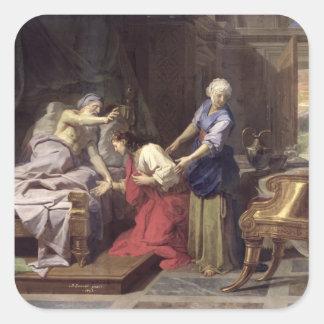 Isaac som välsignar Jacob, 1692 Fyrkantigt Klistermärke