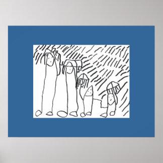 Isaacs familj i regnaaffischen posters