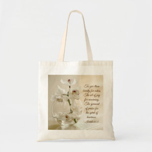 Isaiah 61:3skönhet för aska, bibelVerse, Orchid Tygkasse