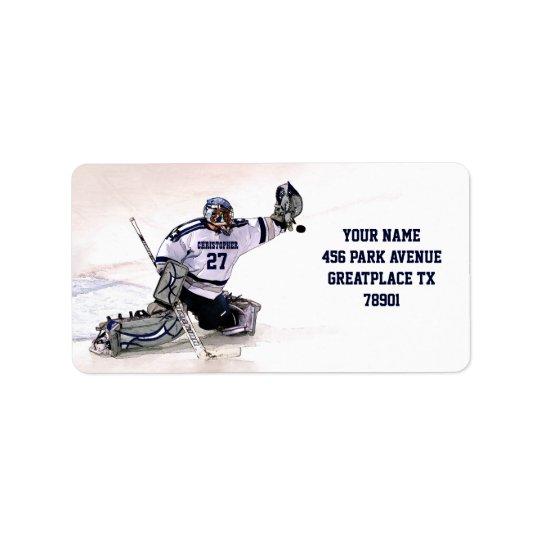 Ishockeymålvakt med din kända teckning adressetikett