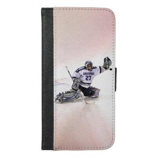 Ishockeymålvakt med din kända teckning iPhone 6/6s plus plånboksfodral