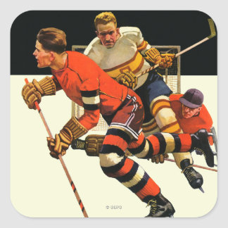 Ishockeymatch Fyrkantigt Klistermärke
