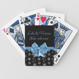 Isigblåttpilbåge på svart gifta sig för spelkort