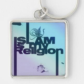 Islam är min religion - islamiskt arabiskatryck fyrkantig silverfärgad nyckelring