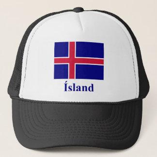 Islandflagga med namn i isländska keps
