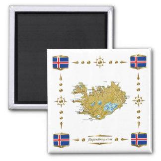 Islandkarta + Flaggormagnet Kylskåpmagneter