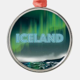 Isländskt nordligt ljus reser konst julgransprydnad metall