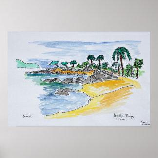 Isolella strand, Ajaccio | Corsica, frankrike Poster