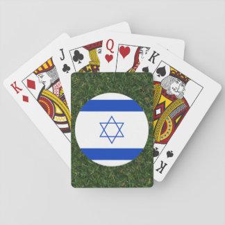 Israel flagga på gräs spel kort