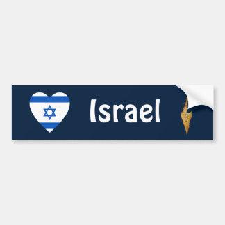 Israel flaggahjärta + Kartabildekal Bildekal