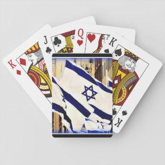 Israelisk flagga som leker kort spelkort