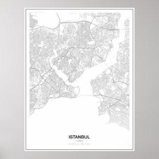 Istanbul Turkiet Minimalist kartaaffisch (stil 2) Poster