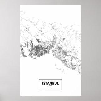 Istanbul Turkiet (svarten på vit) Poster