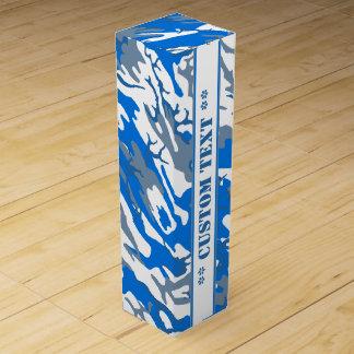 Isvattenblått Camo med beställnings- text Presentask För Vinflaska