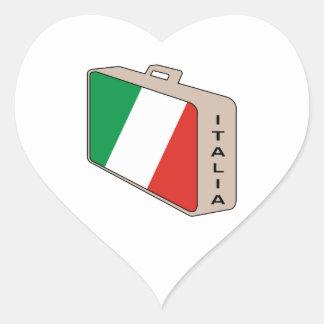 Italia bagage hjärtformat klistermärke