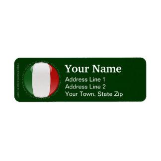 Italien bubblar flagga returadress etikett