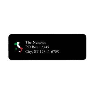Italien i flaggafärger returadress etikett