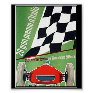 italien Monza för tävling för bil för vintagetryck Posters