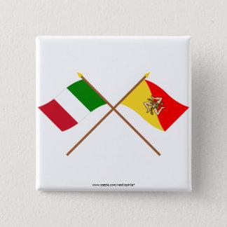 Italien och Sicilia korsad flaggor Standard Kanpp Fyrkantig 5.1 Cm
