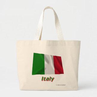 Italien som vinkar flagga med namn tygkassar